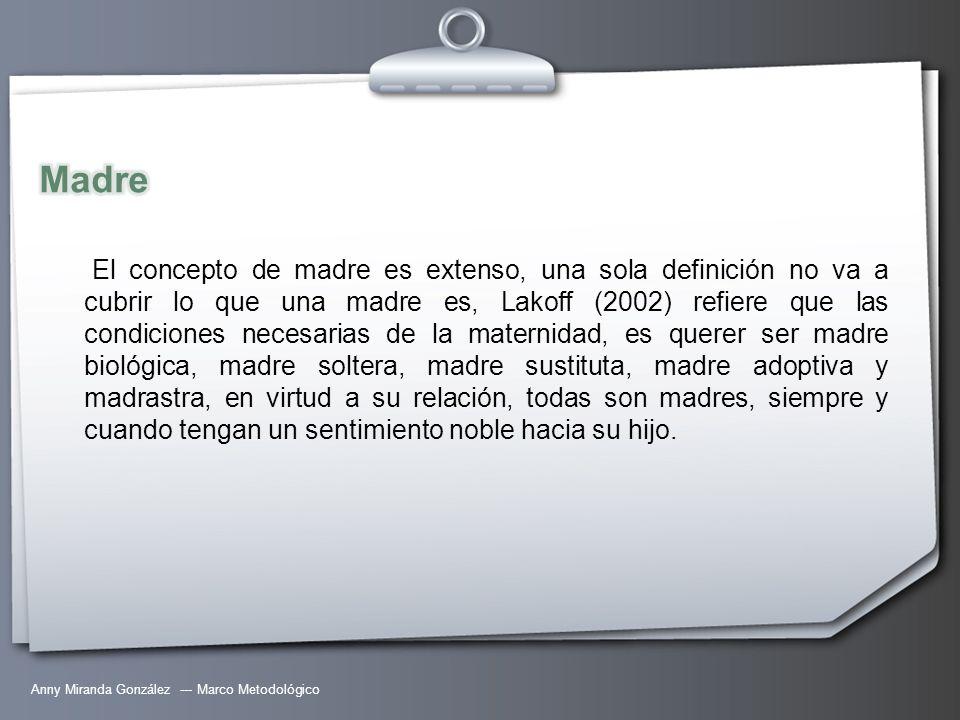 Anny Miranda González --- Marco Metodológico El concepto de madre es extenso, una sola definición no va a cubrir lo que una madre es, Lakoff (2002) re