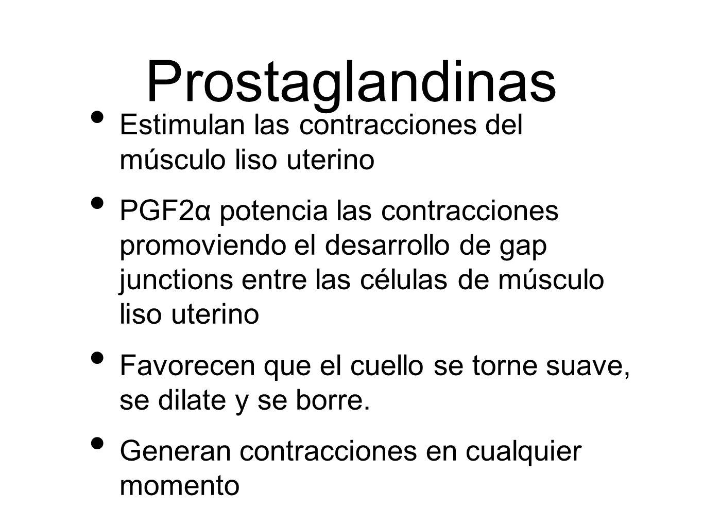 Prostaglandinas Estimulan las contracciones del músculo liso uterino PGF2α potencia las contracciones promoviendo el desarrollo de gap junctions entre