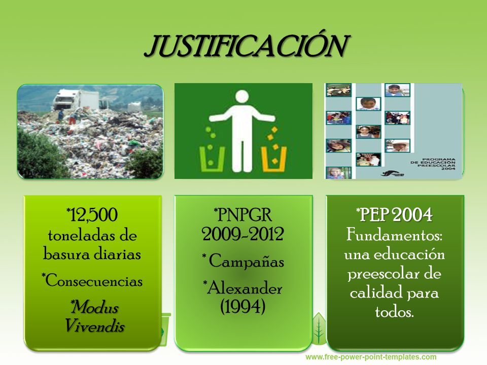 JUSTIFICACIÓN *12,500 toneladas de basura diarias * Consecuencias *Modus Vivendis *PNPGR 2009-2012 * Campañas *Alexander (1994) PEP 2004 *PEP 2004 Fun