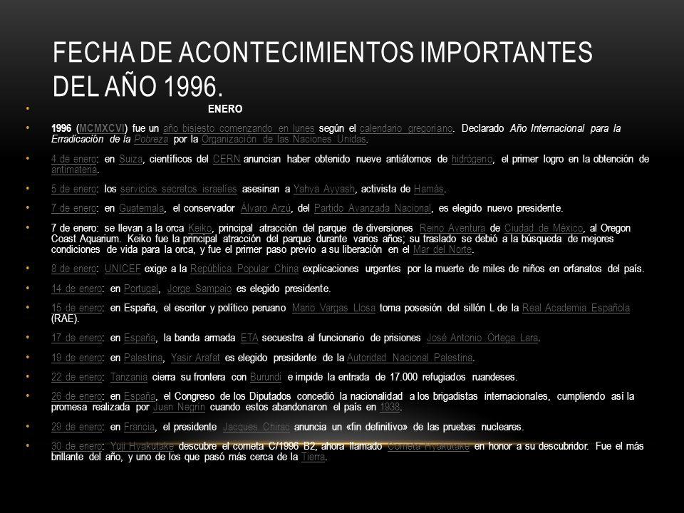 FECHA DE ACONTECIMIENTOS IMPORTANTES DEL AÑO 1996. ENERO 1996 ( MCMXCVI ) fue un año bisiesto comenzando en lunes según el calendario gregoriano. Decl