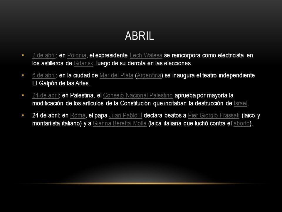 MAYO 5 de mayo: en España, José María Aznar se convierte en el cuarto presidente desde la muerte del dictador Francisco Franco, sustituyendo a Felipe González, interrumpiendo durante 8 años los, hasta entonces, casi 14 años de hegemonía socialista.