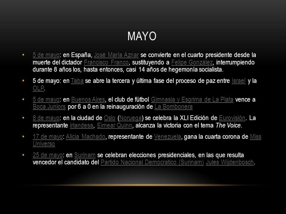 MAYO 5 de mayo: en España, José María Aznar se convierte en el cuarto presidente desde la muerte del dictador Francisco Franco, sustituyendo a Felipe