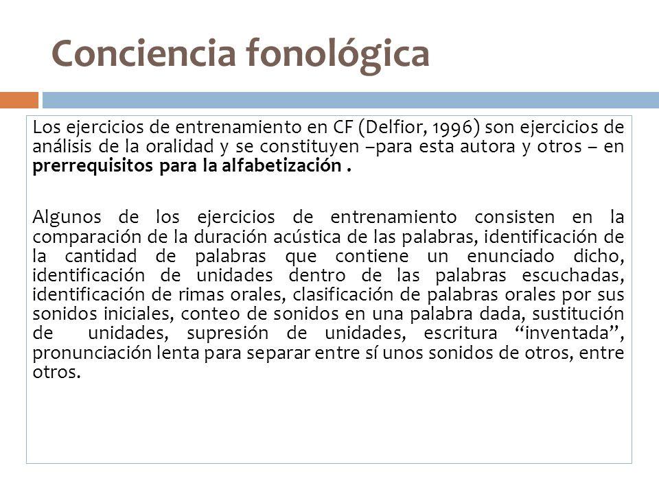 Conciencia fonológica Los ejercicios de entrenamiento en CF (Delfior, 1996) son ejercicios de análisis de la oralidad y se constituyen –para esta auto