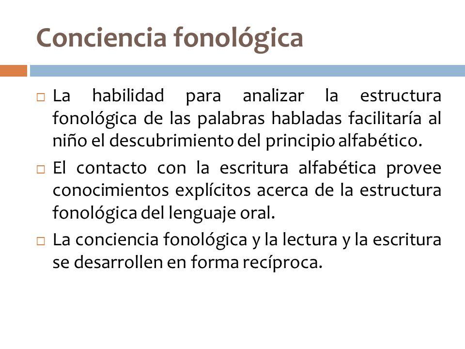 Conciencia fonológica La habilidad para analizar la estructura fonológica de las palabras habladas facilitaría al niño el descubrimiento del principio