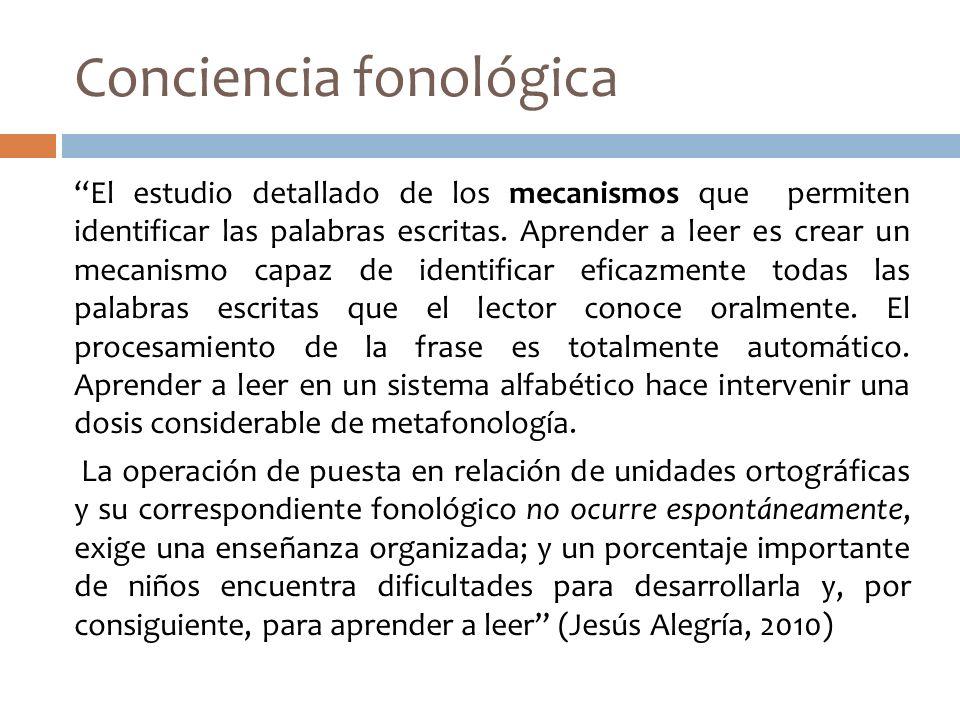 Conciencia fonológica El estudio detallado de los mecanismos que permiten identificar las palabras escritas. Aprender a leer es crear un mecanismo cap