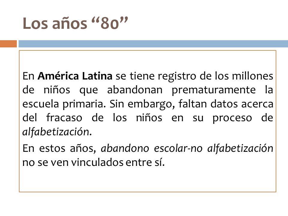 Los años 80 En América Latina se tiene registro de los millones de niños que abandonan prematuramente la escuela primaria. Sin embargo, faltan datos a