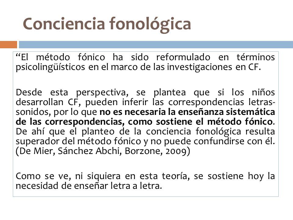 Conciencia fonológica El método fónico ha sido reformulado en términos psicolingüísticos en el marco de las investigaciones en CF. Desde esta perspect