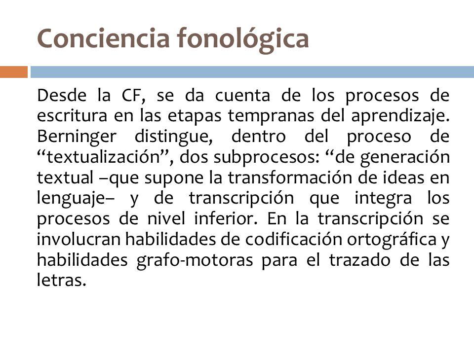 Conciencia fonológica Desde la CF, se da cuenta de los procesos de escritura en las etapas tempranas del aprendizaje. Berninger distingue, dentro del