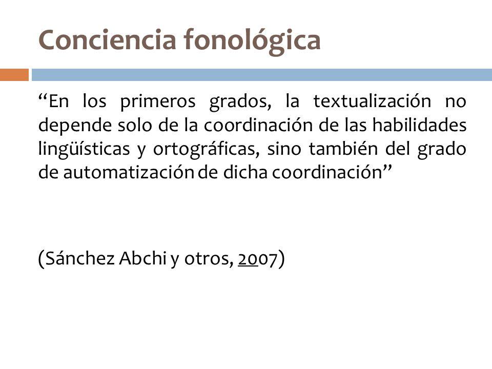 Conciencia fonológica En los primeros grados, la textualización no depende solo de la coordinación de las habilidades lingüísticas y ortográficas, sin