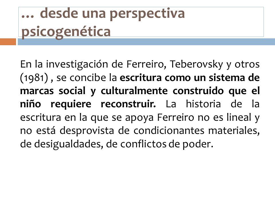 … desde una perspectiva psicogenética En la investigación de Ferreiro, Teberovsky y otros (1981), se concibe la escritura como un sistema de marcas so