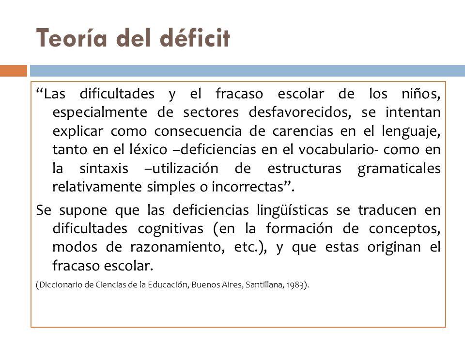 Teoría del déficit Las dificultades y el fracaso escolar de los niños, especialmente de sectores desfavorecidos, se intentan explicar como consecuenci