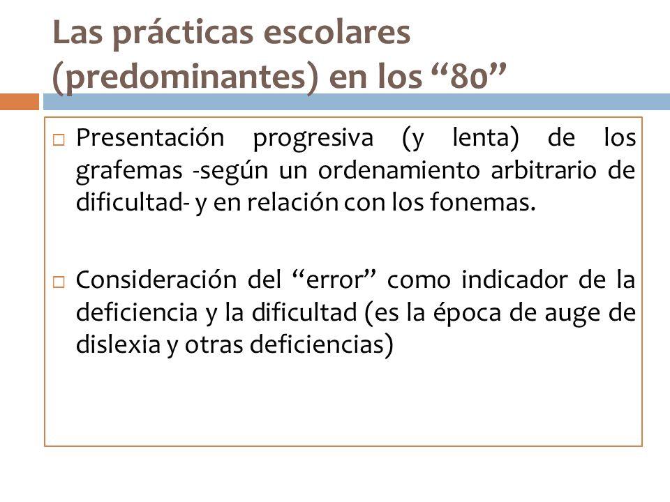 Las prácticas escolares (predominantes) en los 80 Presentación progresiva (y lenta) de los grafemas -según un ordenamiento arbitrario de dificultad- y