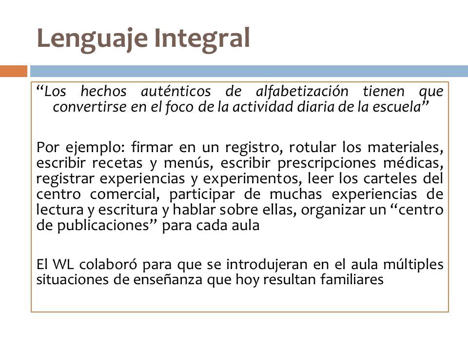 Lenguaje Integral Los hechos auténticos de alfabetización tienen que convertirse en el foco de la actividad diaria de la escuela Por ejemplo: firmar e