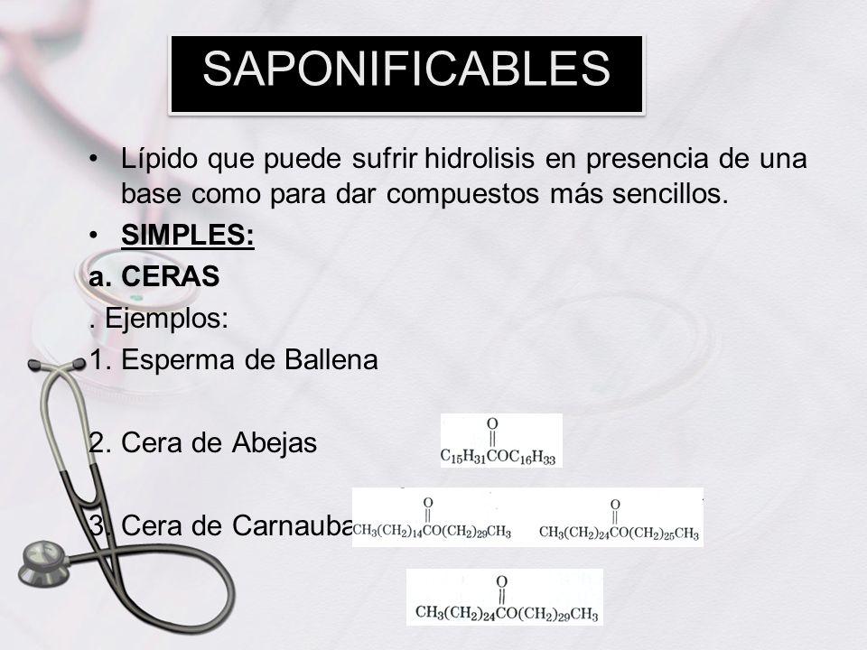 Lípido que puede sufrir hidrolisis en presencia de una base como para dar compuestos más sencillos. SIMPLES: a.CERAS. Ejemplos: 1.Esperma de Ballena 2