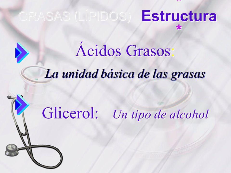 GRASAS (LÍPIDOS) * Estructura * Ácidos Grasos: La unidad básica de las grasas Glicerol: Un tipo de alcohol