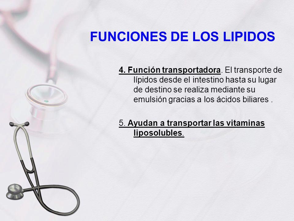 FUNCIONES DE LOS LIPIDOS 4. Función transportadora. El transporte de lípidos desde el intestino hasta su lugar de destino se realiza mediante su emuls
