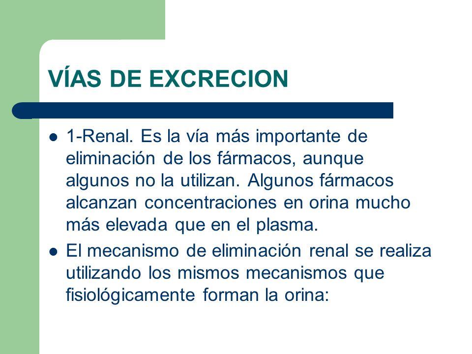 VÍAS DE EXCRECION 1-Renal. Es la vía más importante de eliminación de los fármacos, aunque algunos no la utilizan. Algunos fármacos alcanzan concentra