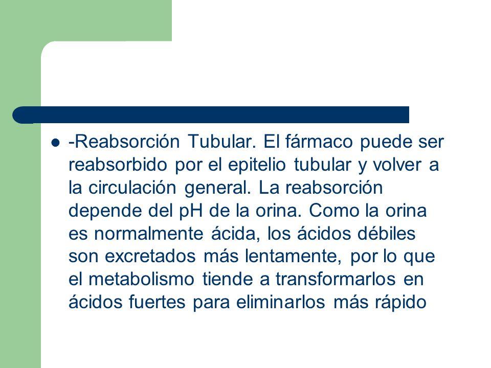 -Reabsorción Tubular. El fármaco puede ser reabsorbido por el epitelio tubular y volver a la circulación general. La reabsorción depende del pH de la