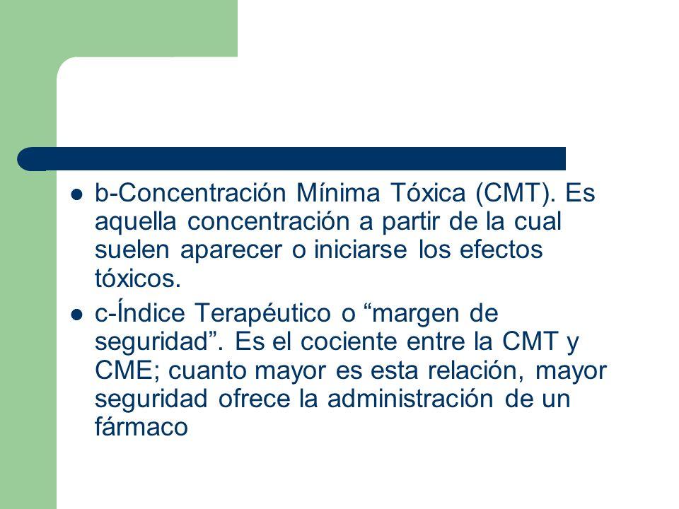 b-Concentración Mínima Tóxica (CMT). Es aquella concentración a partir de la cual suelen aparecer o iniciarse los efectos tóxicos. c-Índice Terapéutic