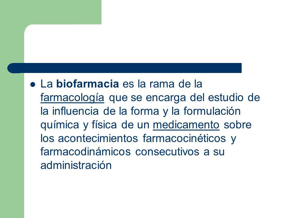 La biofarmacia es la rama de la farmacología que se encarga del estudio de la influencia de la forma y la formulación química y física de un medicamen