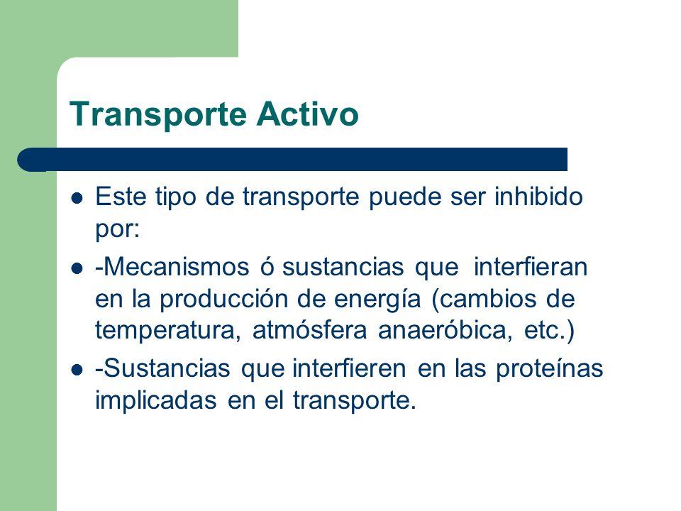 Transporte Activo Este tipo de transporte puede ser inhibido por: -Mecanismos ó sustancias que interfieran en la producción de energía (cambios de tem