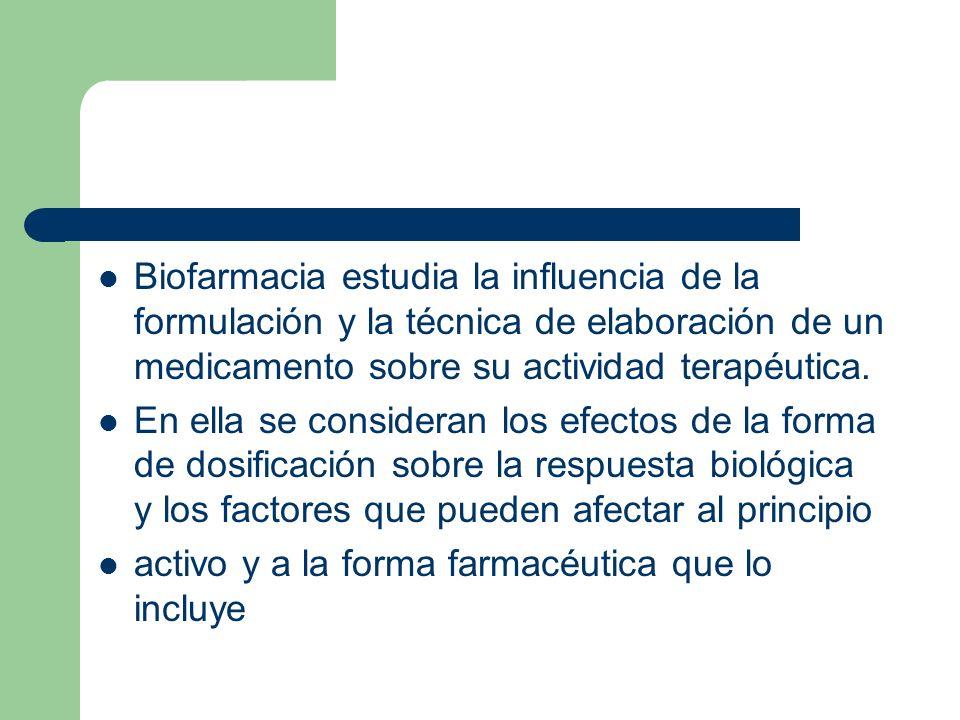 Biofarmacia estudia la influencia de la formulación y la técnica de elaboración de un medicamento sobre su actividad terapéutica. En ella se considera