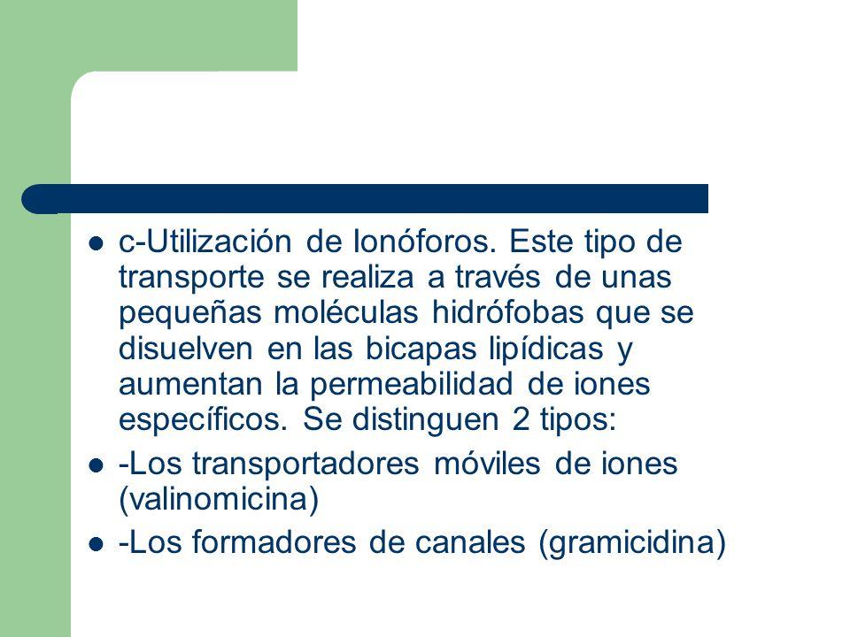 c-Utilización de Ionóforos. Este tipo de transporte se realiza a través de unas pequeñas moléculas hidrófobas que se disuelven en las bicapas lipídica