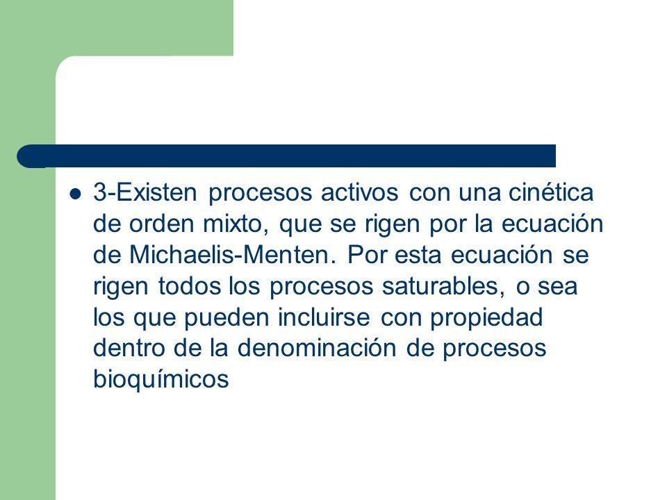 3-Existen procesos activos con una cinética de orden mixto, que se rigen por la ecuación de Michaelis-Menten. Por esta ecuación se rigen todos los pro