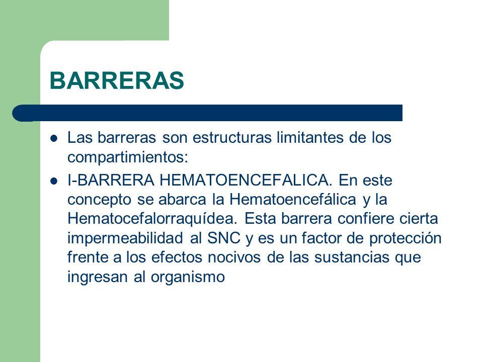 BARRERAS Las barreras son estructuras limitantes de los compartimientos: I-BARRERA HEMATOENCEFALICA. En este concepto se abarca la Hematoencefálica y
