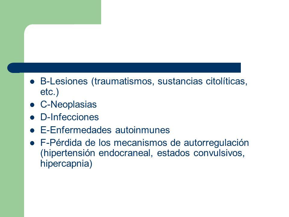 B-Lesiones (traumatismos, sustancias citolíticas, etc.) C-Neoplasias D-Infecciones E-Enfermedades autoinmunes F-Pérdida de los mecanismos de autorregu