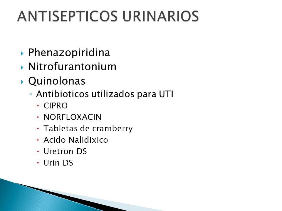Phenazopiridina Nitrofurantonium Quinolonas Antibioticos utilizados para UTI CIPRO NORFLOXACIN Tabletas de cramberry Acido Nalidixico Uretron DS Urin