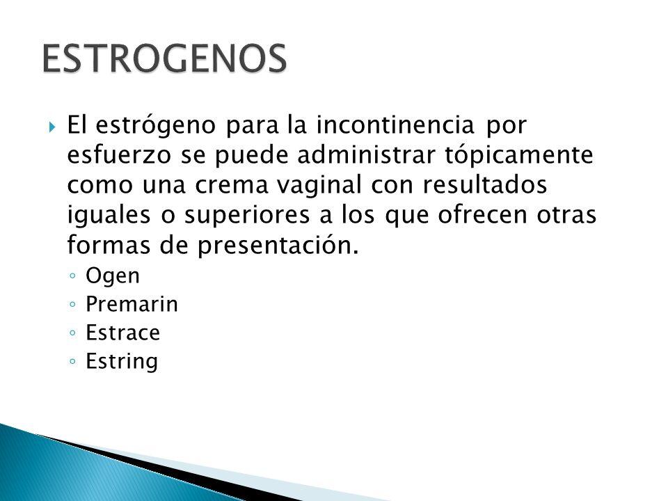 El estrógeno para la incontinencia por esfuerzo se puede administrar tópicamente como una crema vaginal con resultados iguales o superiores a los que