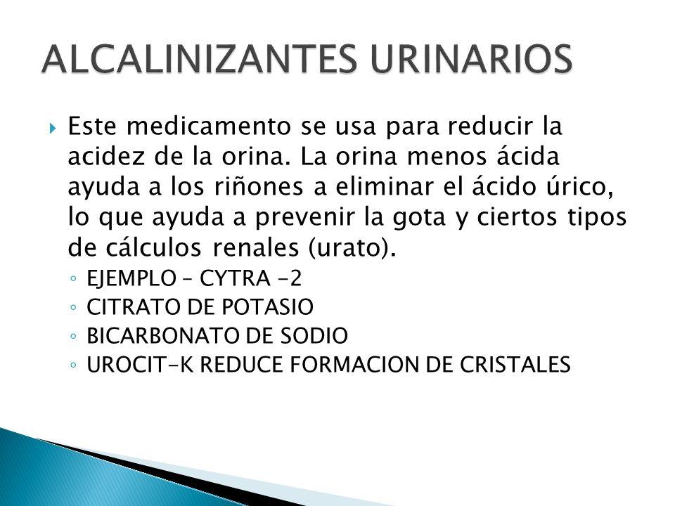 Este medicamento se usa para reducir la acidez de la orina. La orina menos ácida ayuda a los riñones a eliminar el ácido úrico, lo que ayuda a preveni