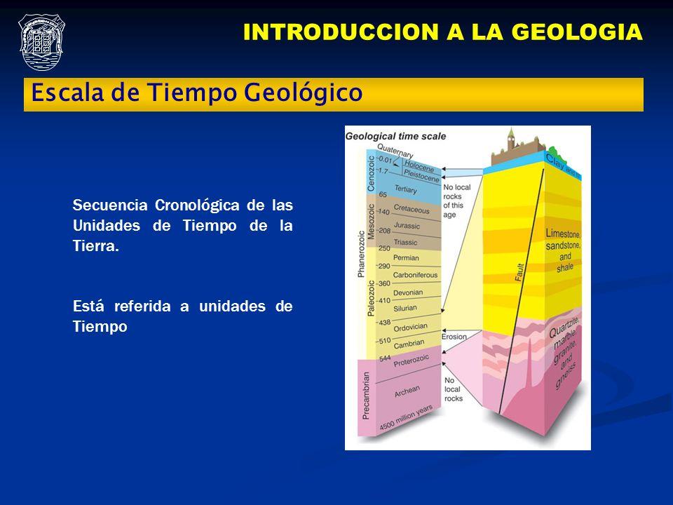 INTRODUCCION A LA GEOLOGIA Escala de Tiempo Geológico Secuencia Cronológica de las Unidades de Tiempo de la Tierra. Está referida a unidades de Tiempo