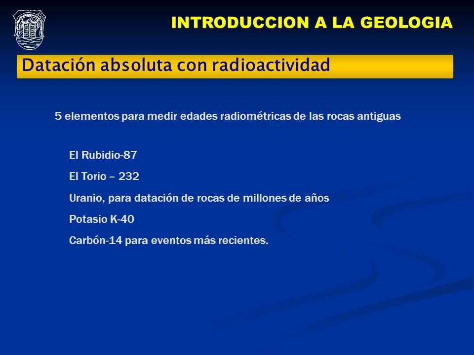 INTRODUCCION A LA GEOLOGIA Datación absoluta con radioactividad El Rubidio-87 El Torio – 232 Uranio, para datación de rocas de millones de años Potasi