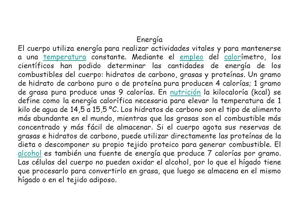 Energía El cuerpo utiliza energía para realizar actividades vitales y para mantenerse a una temperatura constante. Mediante el empleo del calorímetro,