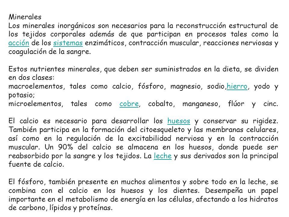 Minerales Los minerales inorgánicos son necesarios para la reconstrucción estructural de los tejidos corporales además de que participan en procesos t