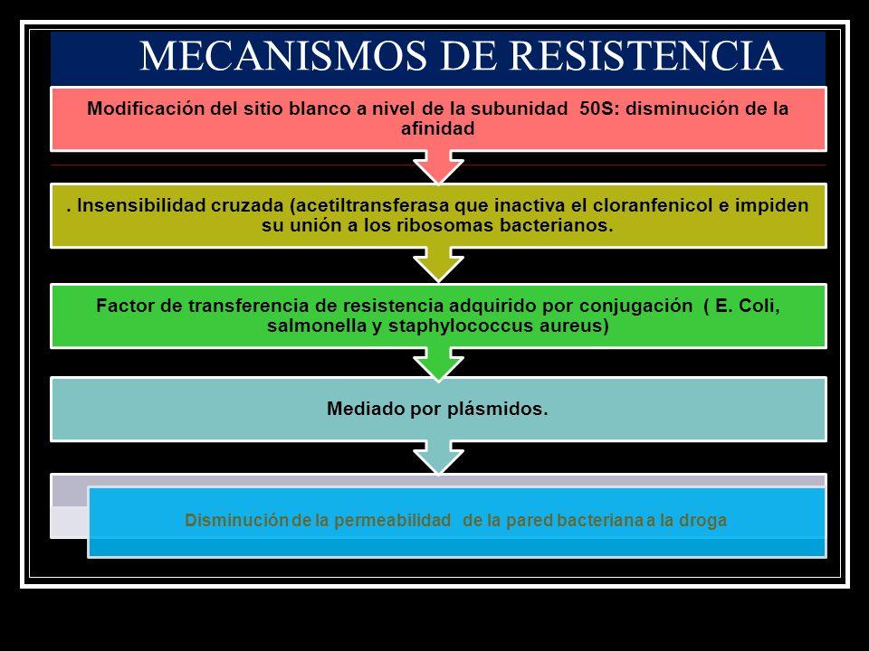 Disminución de la permeabilidad de la pared bacteriana a la droga Mediado por plásmidos. Factor de transferencia de resistencia adquirido por conjugac