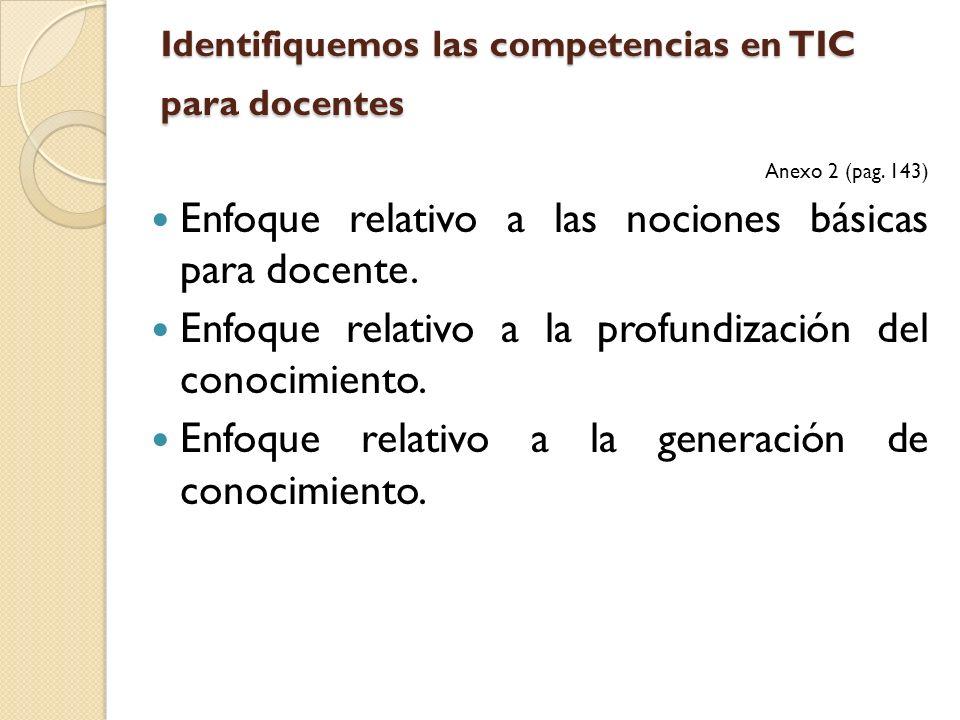Identifiquemos las competencias en TIC para docentes Anexo 2 (pag. 143) Enfoque relativo a las nociones básicas para docente. Enfoque relativo a la pr