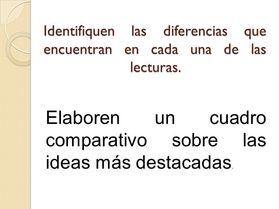 Identifiquen las diferencias que encuentran en cada una de las lecturas. Elaboren un cuadro comparativo sobre las ideas más destacadas.