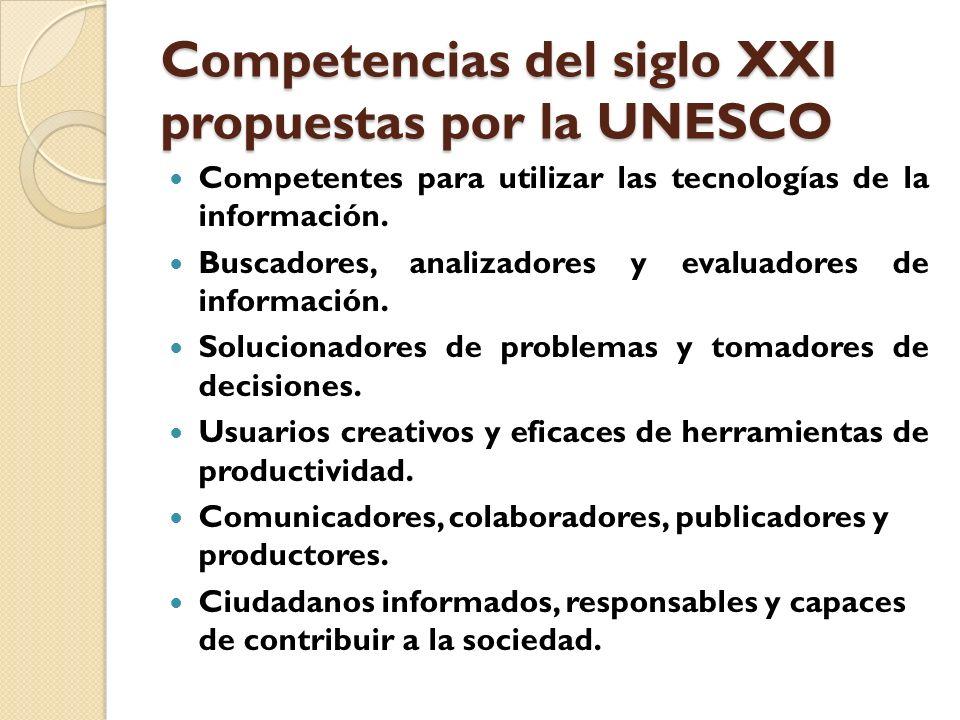 Competencias del siglo XXI propuestas por la UNESCO Competentes para utilizar las tecnologías de la información. Buscadores, analizadores y evaluadore