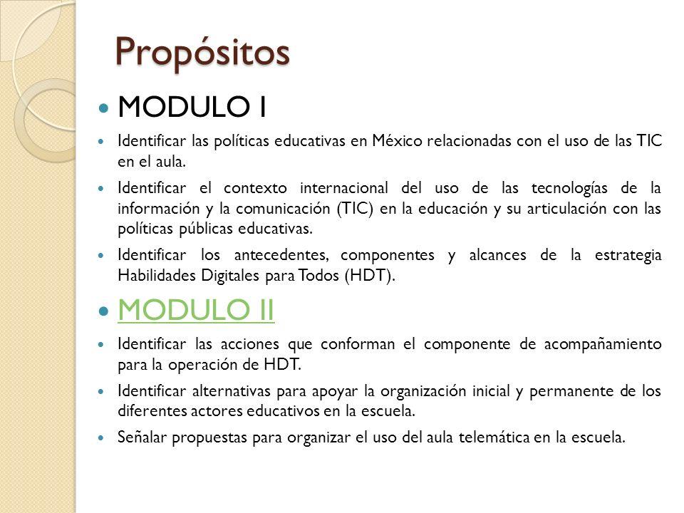 Propósitos MODULO I Identificar las políticas educativas en México relacionadas con el uso de las TIC en el aula. Identificar el contexto internaciona