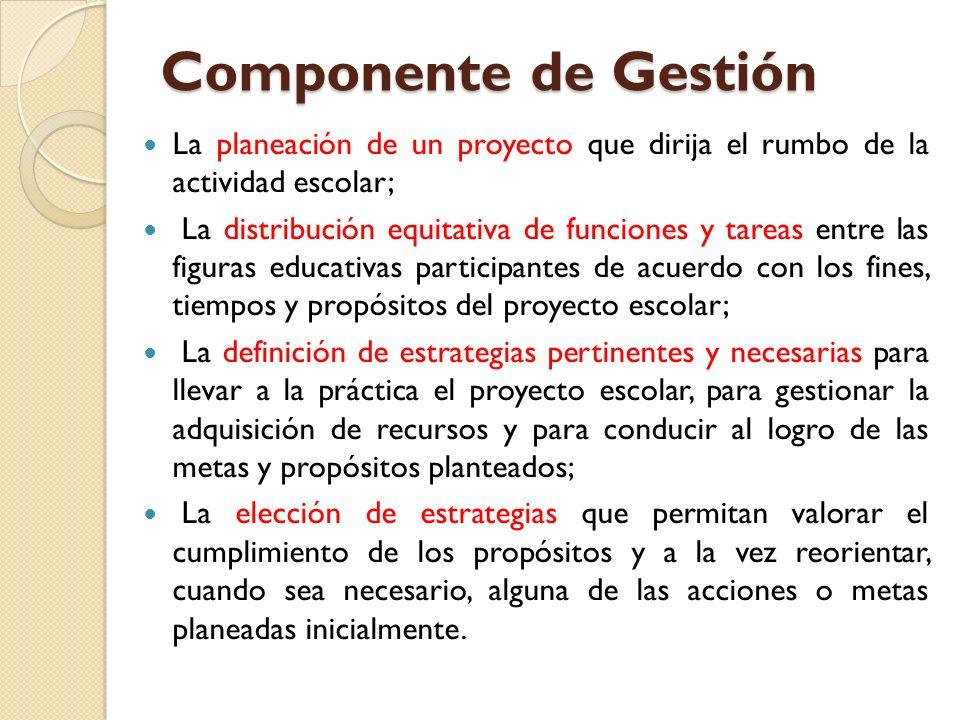 Componente de Gestión La planeación de un proyecto que dirija el rumbo de la actividad escolar; La distribución equitativa de funciones y tareas entre