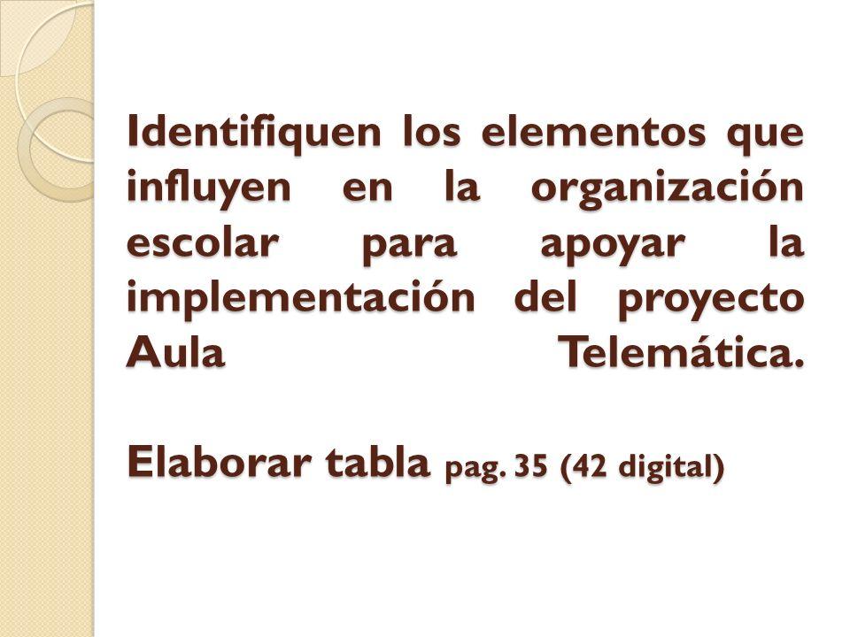 Identifiquen los elementos que influyen en la organización escolar para apoyar la implementación del proyecto Aula Telemática. Elaborar tabla pag. 35