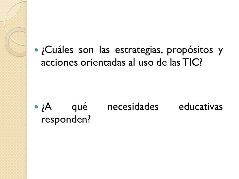 ¿Cuáles son las estrategias, propósitos y acciones orientadas al uso de las TIC? ¿A qué necesidades educativas responden?