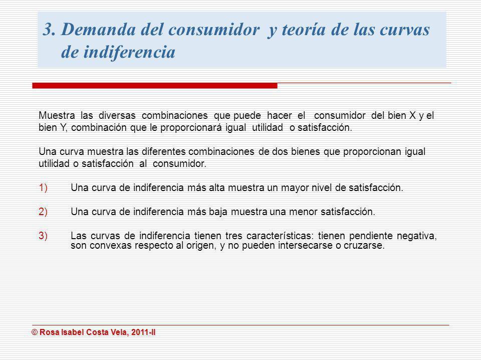 © Rosa Isabel Costa Vela, 2011-II © Rosa Isabel Costa Vela, 2011-II Muestra las diversas combinaciones que puede hacer el consumidor del bien X y el b