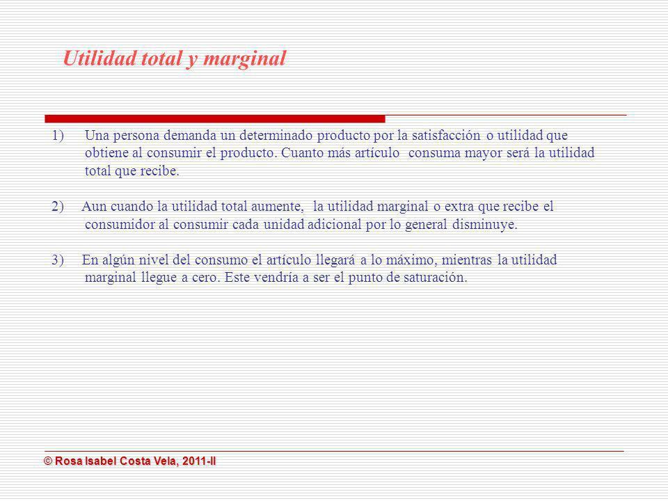 © Rosa Isabel Costa Vela, 2011-II © Rosa Isabel Costa Vela, 2011-II 1)Una persona demanda un determinado producto por la satisfacción o utilidad que o