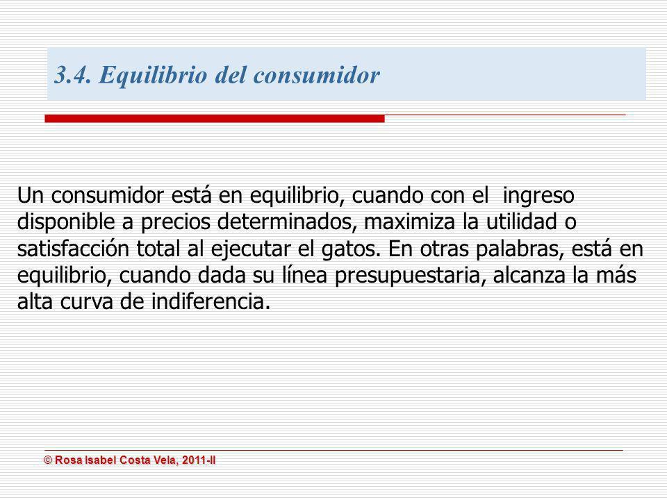 © Rosa Isabel Costa Vela, 2011-II © Rosa Isabel Costa Vela, 2011-II Un consumidor está en equilibrio, cuando con el ingreso disponible a precios deter