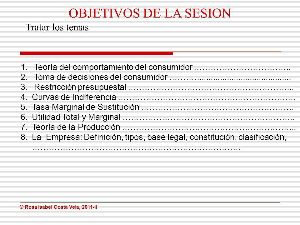 © Rosa Isabel Costa Vela, 2011-II © Rosa Isabel Costa Vela, 2011-II OBJETIVOS DE LA SESION Tratar los temas 1. Teoría del comportamiento del consumido