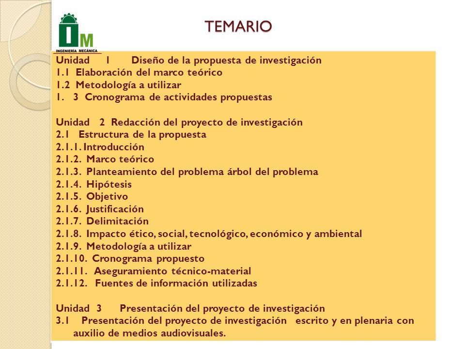 TEMARIO Unidad 1 Diseño de la propuesta de investigación 1.1 Elaboración del marco teórico 1.2 Metodología a utilizar 1.3 Cronograma de actividades propuestas Unidad 2 Redacción del proyecto de investigación 2.1 Estructura de la propuesta 2.1.1.